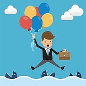 Businessman in Suit Floating with Balloons Over the Sea and Fish in the Water. Concept Business Vector Illustration Flat Style.