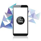 Smartphone isolated on abstract geometric background - Mobile Phone Template