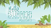 Summer Beach Vacation Concept Seaside Sand Tropical Holiday Banner