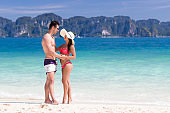 Young People On Beach Summer Vacation, Couple Lovers Embracing Seaside Blue Water