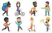 Vector set of tourists and business characters