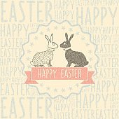 easter bunny  symbol in stippling style on typographic background