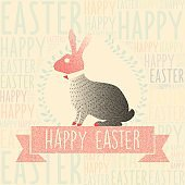 retro easter bunny  in stippling style on typographic background