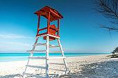 wooden watch tower at caribbean beach  in Varadero Cuba