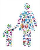 Mother & Boy Family Birthday Celebration Vector Icon Pattern