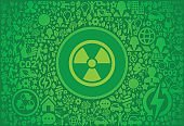 Nuclear Environment Green Vector Icon Pattern