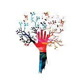 Colorful human hand with tree and butterflies vector illustration
