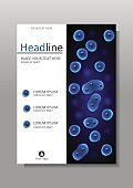Blue cell culture nucleus vector cover design. A4.