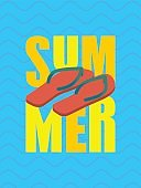 Summer and slippers lettering. Sea shoes Typography