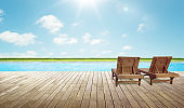 Empty wooden deck with swimming pool