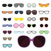 Fashion set sunglasses accessory sun spectacles plastic frame modern eyeglasses vector illustration