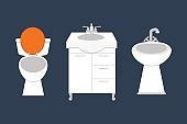 Bathroom icons colored set with process water savings symbols hygiene collection and clean household washing cleaning beauty dryer vector illustration
