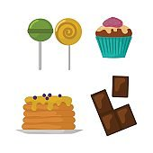 Sweets food bakery dessert sugar confectionery lollipop design and snack chocolate cake colorful holiday candy caramel icon vector illustration