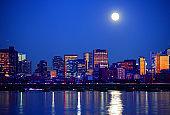 Full Moon over the Downtown Boston Skyline