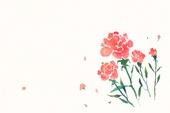 물감으로 그린 빨강 꽃