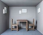 A chair in a narrow space