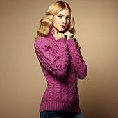 Fashion photo of beautiful woman in sweater
