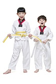 Cute children practicing Tae Kwon Do