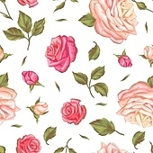 Seamless pattern with vintage roses. Decorative retro flowers. Easy to use for backdrop, textile, wrapping paper, wallpaper