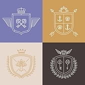 Vector linear heraldry symbols and design elements