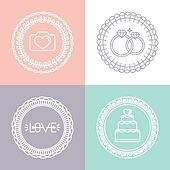 Vector wedding and engagement line logos