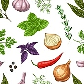 Seamless pattern with various herbs and spices