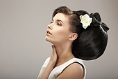 Hairstyle Contemporary Design. Sensual Woman with Creative Coiffure. Glamor