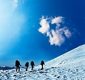 Hike in winter mountains