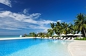 Luxury swimming pool in the tropical hotel