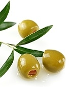 Green Olives With A Olive Tree Branch