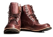 pair of brown leather walking winter boots