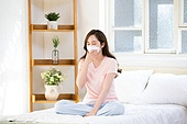 Young woman got sick and flu