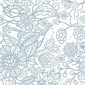 vector floral seamless pattern with cute birds and fantasy flowers