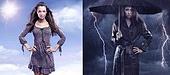 Conceptual photo of a spring woman versus sad autumn lady