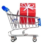 shopping cart with red gift box, cut out from white