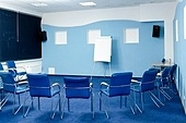 interior of conference room at hotel ready for business training