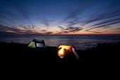 야영 텐트 일몰