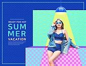 여름, 여성, 팝아트