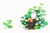 The young monk and lotus blossom, buddhism