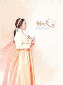 Korean woman in a hanbok Graphic Design