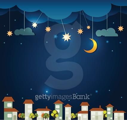 겨울밤 달빛 일러스트
