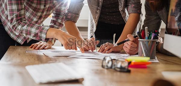 Close up of designers hands