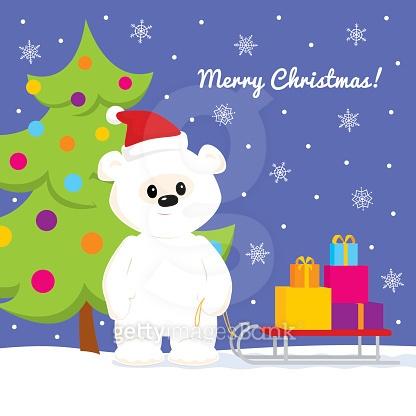 귀여운 북극곰 일러스트