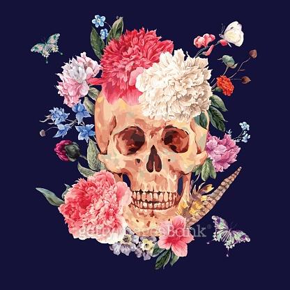 Skull & Flower Pattern