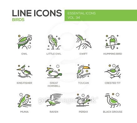 Line icons of animals
