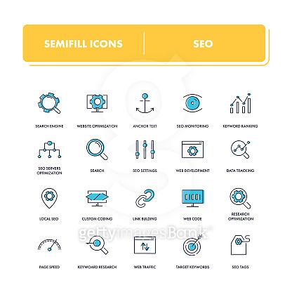 Semi fill icon set - basic
