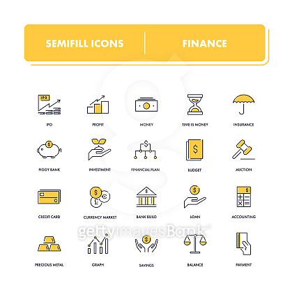 Yellow line Icon set