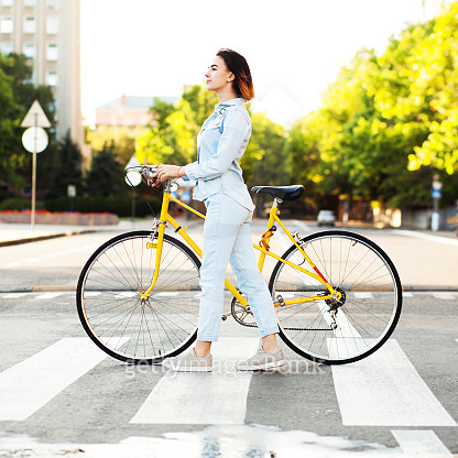 woman & bicycle