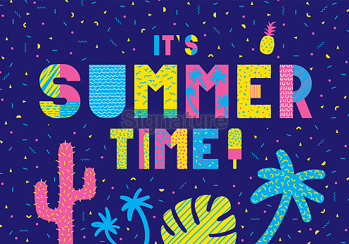 Summer illustrations card