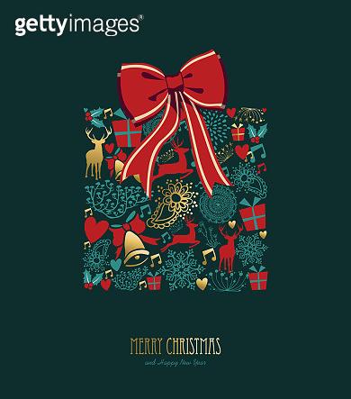 Christmas vintage gold ornament card